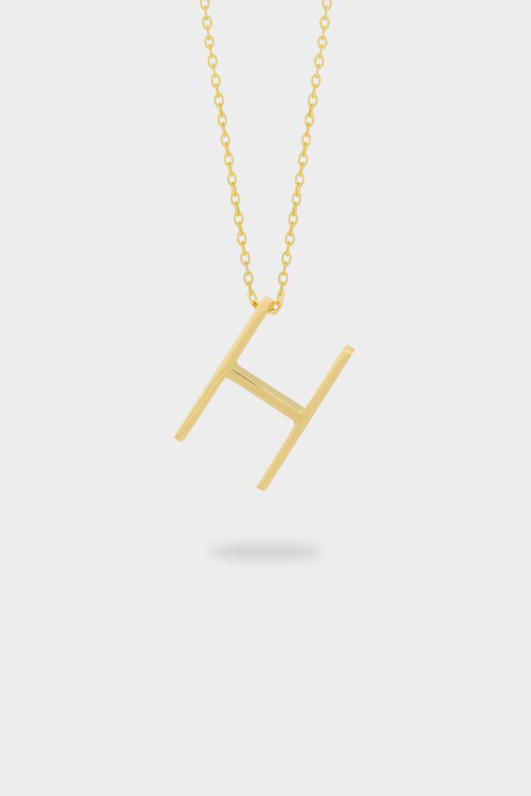 T000 Sarı Altın H Harfi Kolye898