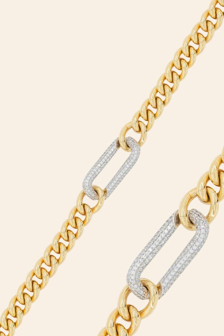 Sarı Altın Taşlı Zincir Bileklik – 00850164