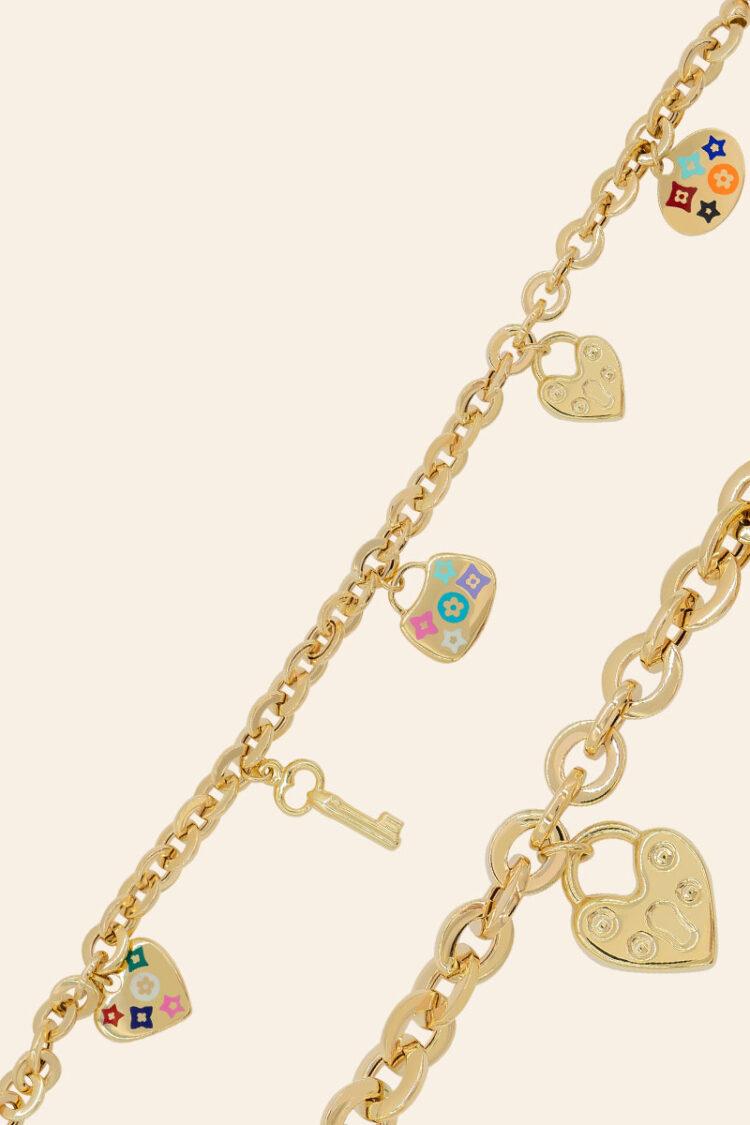 Sarı Altın Kalp ve Anahtar Figürlü Bileklik – 00970060