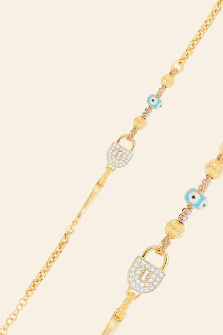 Altın Dilek Kilitli Nazar Boncuklu Taşlı Bileklik – 00854567