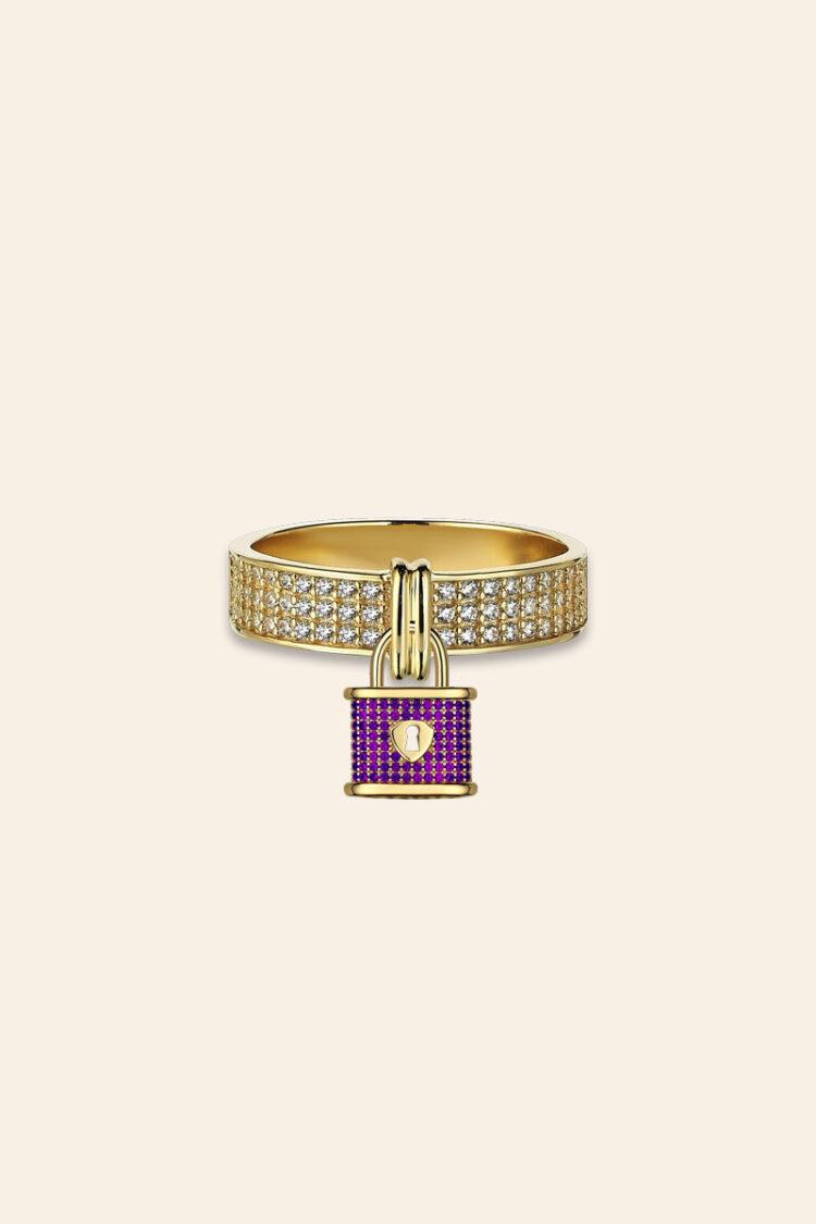 Bir Dilek Tut Altın Taşlı Kilit Yüzük – 00977277